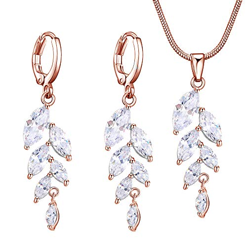Marquise Earrings Plated Gold - Worry-Free Shopping 18K Gold-Plated Wheat Shape Marquise Cut CZ Hoop Earring+Necklace Jewelry Set (Rose Gold)