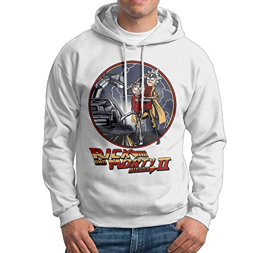 HOT Rick And Morty Doc And Marty B2tF Back To The Mcfly Future Stylish Hoodies For Men Size XL White - Back To The Future 2016 Costume