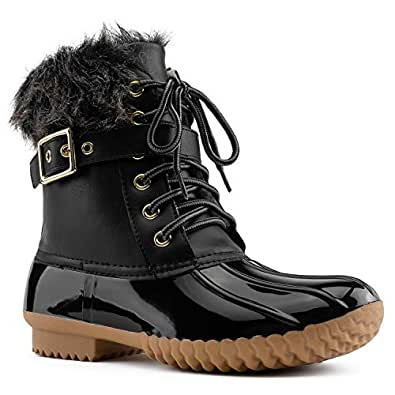 RF ROOM OF FASHION Women's Rubber Mid Calf Warm Water Resistant Faux Fur Fleece Lined Hiking Snow Boots Black Size.5.5