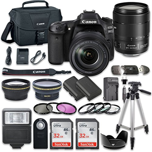 Canon EOS 80D Wi-Fi Full HD 1080P Digital SLR Camera with Canon EF-S 18-135mm f/3.5-5.6 IS USM Lens + 2pc SanDisk 32GB Memory Cards + Accessory Kit