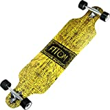 Atom Longboards Drop Through Longboard Skateboard, 40', Tiki Banner