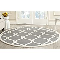 Safavieh Cambridge Collection CAM710D Handcrafted Moroccan Geometric Dark Grey and Ivory Premium Wool Round Area Rug (6 Diameter)
