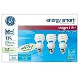 ge cfl light bulbs - GE Energy Smart 13 Watt Soft White Compact Fluorescent T2 Light Bulbs 3 Pack (CFL equivalent to standard 60 watt bulbs)