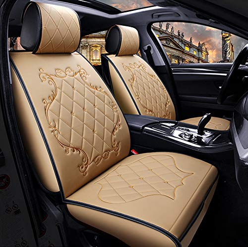 (YRRC Summer Luxury Car Seat Cover, Full Round Neutral Seat, Leather Seat Cushion, 3D Breathable Fabric,Beige)