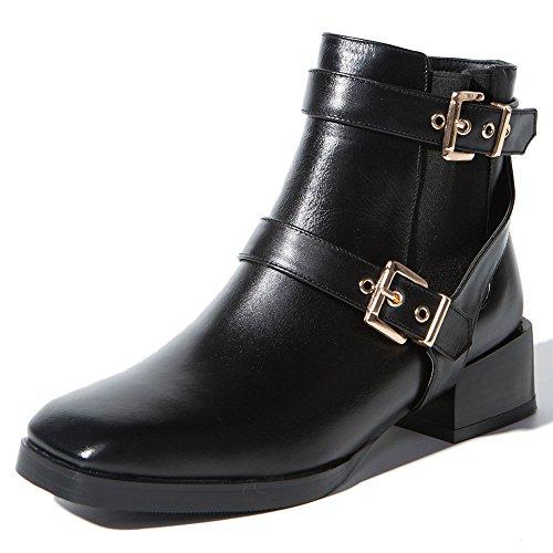 Toe Square Ankle Women's Comfort Seven Block Leather Handmade Nine Boot Buckles Black Heel Cow qUInX