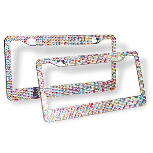 Remtise Bling Bling License Plate Frames 2 Pack for Car / Truck, Pure Handmade Waterproof Glitter Rhinestones Crystal License Frames plate with 2 Holes Bonus Matching Screws Caps Set