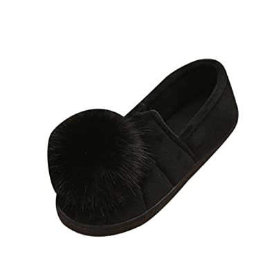 A.M.Feker Women's Winter Indoor Slippers Hairball Anti-Slip Soft Pregnant Women Shoes