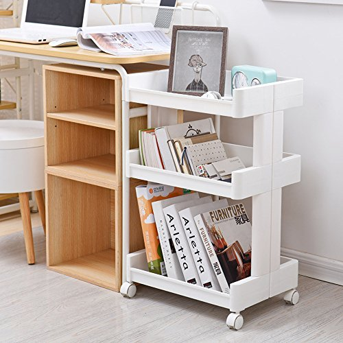 Okdeals 3-Tier Slide Out Storage Tower Rack, Both Sides Open Storage Utility Cart, Kitchen/Bathroom/Office Rolling Organizer Cart, Utility Storage Racks, Portable Storage Carts, White
