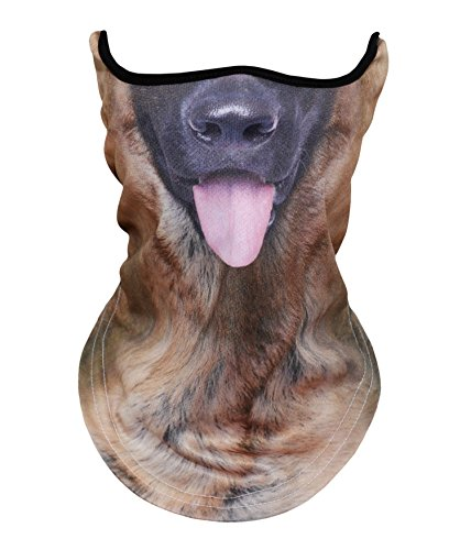 WTACTFUL Animal 3D Neck Gaiter Warmer Windproof Face Mask Scarf Headband Bandana Protection for Cycling Motorbike Motorcycle Skiing Snowboard Hunting Hiking Halloween Cosplay Party German Shepherd]()