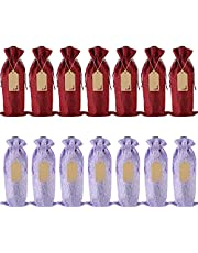 14 Pcs Burlap Wine Bags - Reusable Wine Bottle Bags with Drawstrings, Tags, Ropes, Wine Gift Bags, for Christmas, Wedding, Birthday, Travel, Holiday Party