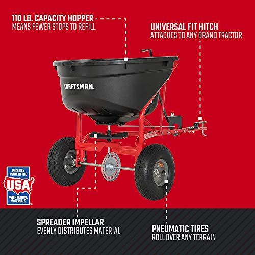 Craftsman CMXGZBF7124571 110-lb Tow Broadcast Spreader, Black by Craftsman (Image #1)