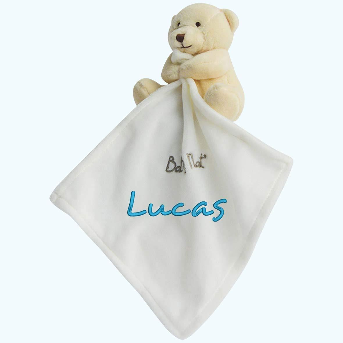Doudou à broder avec prénom - Ourson ivoire - cadeau liste de naissance - cadeau personnalisé naissance-cadeau personnalisé bébé-cadeau Noël bébé