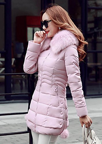 Cappuccio Collo con Lunga ZhuiKun Pelliccia Giacca Pink Cerniera Spessa Giubbotto Donna Imbottito Cappotti di AFqUPx
