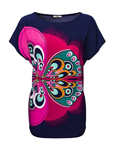 Bebonnie Women's Dolman Sleeve Scoop Neck Print Butterfly Tunic Tops – Medium, Dark Blue