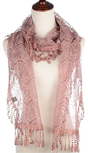 BYOS Womens Delicate Victoria Vintage Inspired Fan Pattern Lace Scarf (Crochet Wrap)