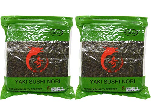 Soeos Yaki Sushi Nori, Nori Sheets for Sushi, Dreid Seaweed Sheets, Premium Quality Seaweed, 100 Half Sheets (Green Grade, 2 Packs)