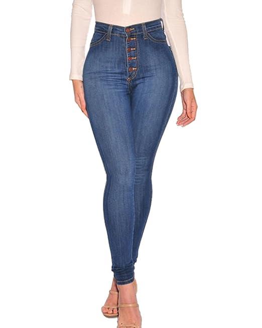 Jeans A Vita Alta Leggings Donna Curvy Stretch Skinny Denim Pantaloni  Taglia Grossa Azzurro Chiaro 2XL
