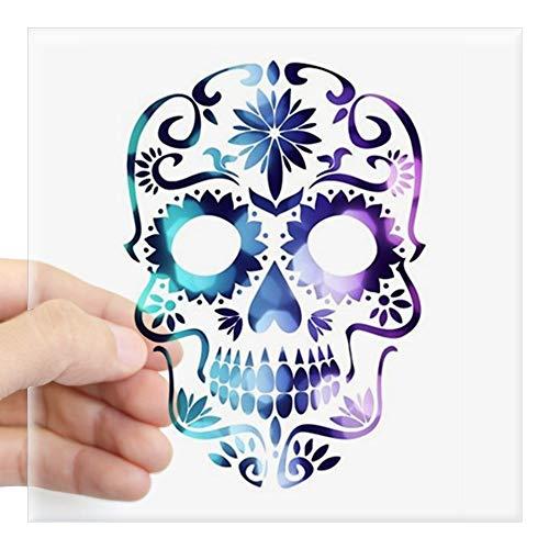CafePress Blue & Purple Sugar Skull Sticker Square Bumper Sticker Car Decal, 3