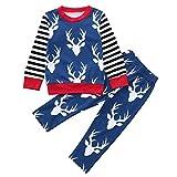 Cute 2pcs Autumn Winter Toddler Baby Sweatshirt Pajama Set, Deer Head Stripe Print Top Blouse Pants Outfit