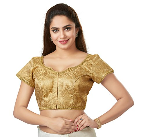 TrendyFashionMall Readymade Gold Silk Saree Blouse SNM01-Gold-M-40