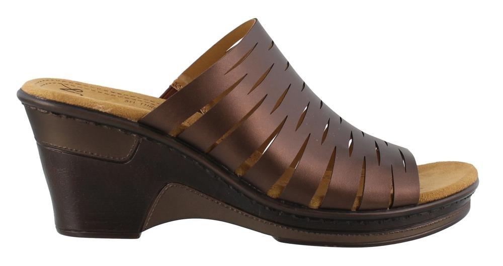 NATURAL SOUL Women's, Reina Wedge Sandals Bronze 6.5 M