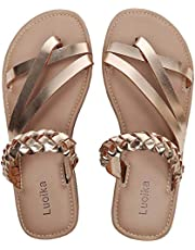 Luoika Women's Wide Width Flat Sandals - Back Zipper Decorative Diamond Thong Summer Shoes.