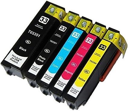 5 Compatibles 33XL Cartuchos de Tinta para Epson Expression ...