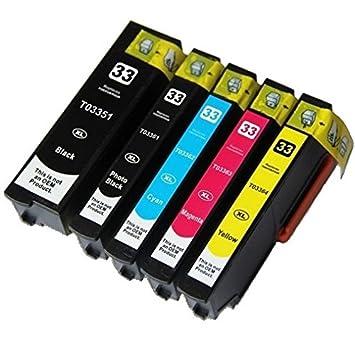 5 Compatibles 33XL Cartuchos de Tinta para Epson Expression Premium XP-530 XP-630 XP-635 XP-640 XP-830 XP-900 XP-540 XP-645 - Negro/Fotográfico ...