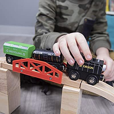 Conductor Carl Build-a-Bridge Set (11 pcs.) | Includes 1 Rail Bridge, 4 Ascending Tracks, 6 Risers Wooden Track Pieces | Compatible with All Major Brands | Classic Children's Hobby Toy Accessory: Toys & Games