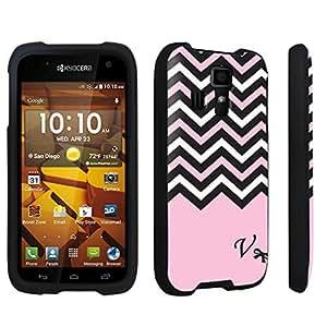 DuroCase ? Kyocera Hydro ICON C6730 Hard Case Black - (Black Pink White Chevron V)