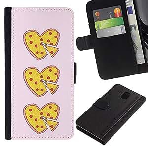 KingStore / Leather Etui en cuir / Samsung Galaxy Note 3 III / Coeur d'amour alimentaire Jaune Rose