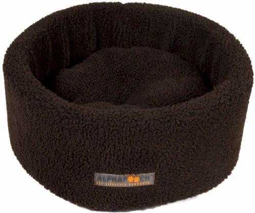 AlphaPooch Siesta Round Fleece Cat Bed, Coco, Small, My Pet Supplies