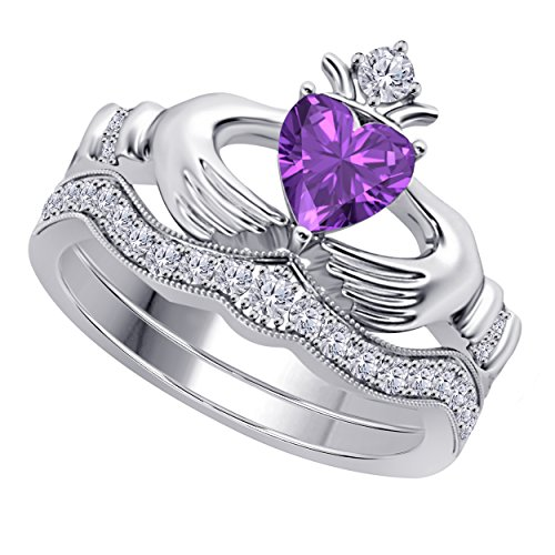Heart Celtic Claddagh Amethyst Ring (Women's 14k Gold Rhodium Plated Alloy White/Yellow/Rose/Black 1.00CT Heart Cut Created Amethyst & Cubic Zirconia Round Wedding Band & Crown Engagement Claddagh Bridal Ring Set Jewelry)