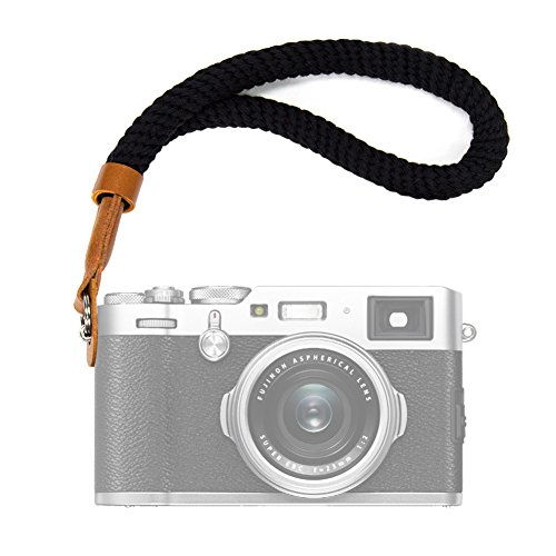 VKO Black Cotton Camera Hand Wrist Strap Compatible for Fujifilm X-T20 X-T2 X70 X-Pro2 X-E3 X-E2 X30 XQ2 X100 X100S X100T A6000 A6300 A6500 A5100 A5000 RXIR II RX10 Cameras Adjustable Safety Strap