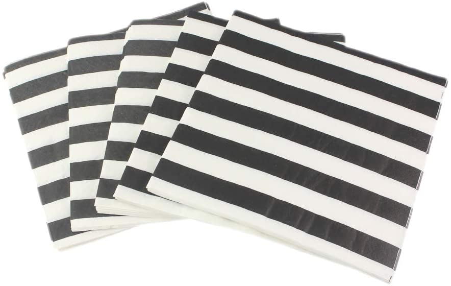 """Paper Napkins White Black Stripes, Decorative Dinner Luncheon Napkins for Party Events 100count, folded 6.5"""" x 6.5"""", unfolded 13"""" x 13"""""""