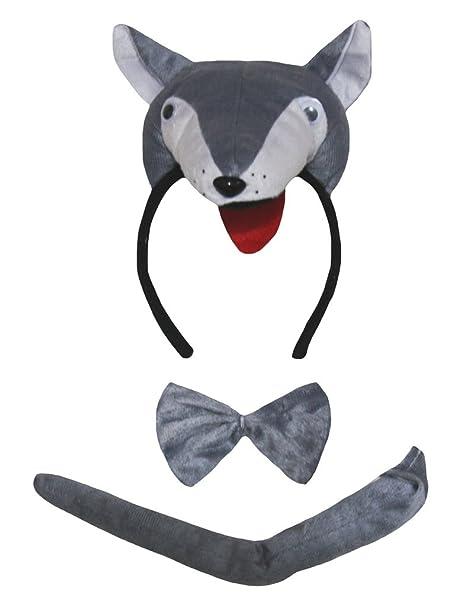 Petitebelle Traje de 3 piezas de la cola del lobo 3D diadema ...