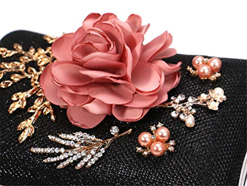 Exclusiva Hermoso Black Bolsa Noche De Banquete Mano Lujo Vestido silver Bolso Cadena La Mujeres Las Bordado Fiesta Flor Rrock Moda Hombro 7qSwan