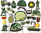 Classic Camo- Army Military Photo Booth Props Kit - 20 Pack Party Camera Props Fully Assembled
