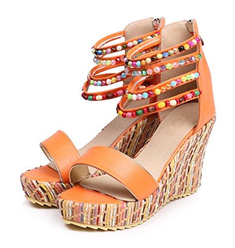 Sandale Damen Orange Knöchelriemchen Keilabsatz Bunt Aisun Perlen Plateau Durchgängig Sqd70w01