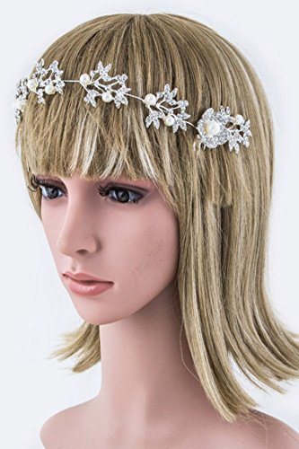 Chic Chelsea Crystal & Pearl Flower Tiara Comb - Los Angeles Chic