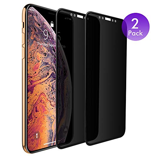 iPhone Xs X 10 Privacy Screen Protector Tempered Glass [2 Pack] Anti-Spy Protective Film with 0.3mm 3D Curve Edge Full Coverage Frame (Compatible with Apple iPhone Xs X, 5.8 inch) Black ()