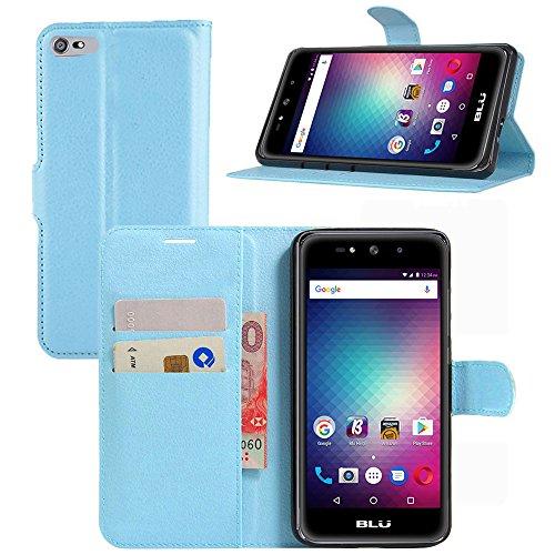 BLU Studio Selfie 3 Case, Gzerma PU Leather Flip Folio Magnetic Wallet Phone Cover with [Card Slot Holder], Soft TPU Shell for BLU Selfie3 S630Q 5.0 Inch Smartphone (Blue)