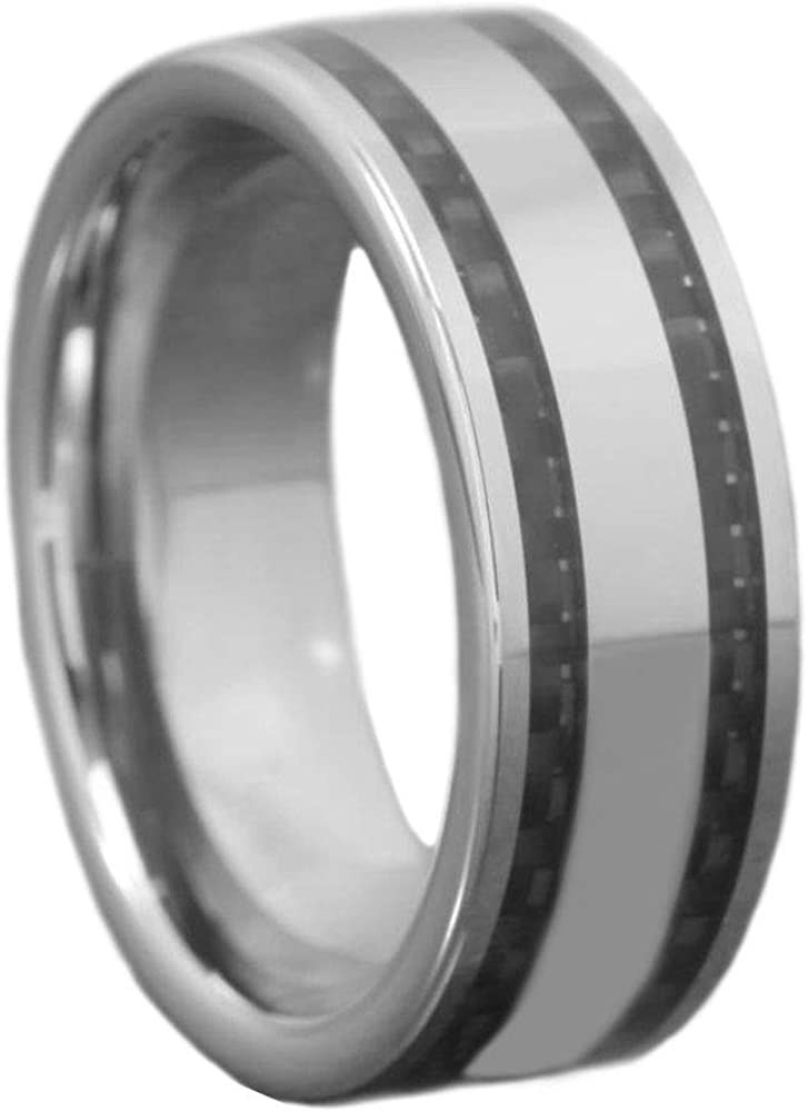 8mm Tungsten Black Carbon Fiber Inlay High Polish Flat Top Mens Wedding Band