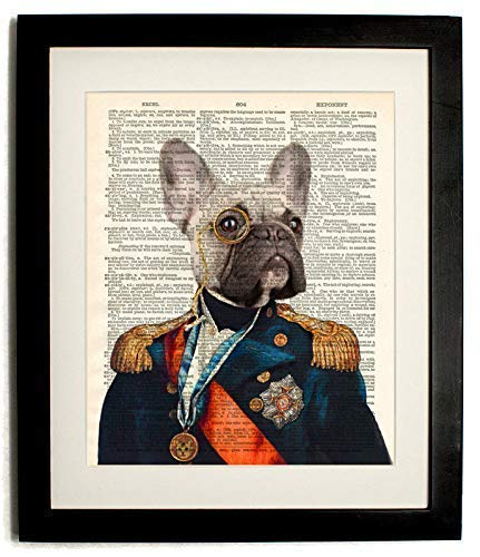 Fully Framed decorated dog-Upcycled Vintage Dictionary Funny Art Print- 8 x10 Indecoratedche Print with Matted 10 X12 Inches Frame- Plexiglass Front