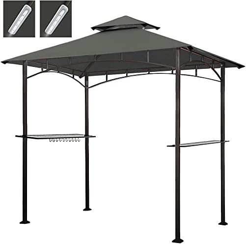 Keymaya 8×5 Grill Gazebo Shelter for Patio and Outdoor Backyard BBQ s, Double Tier Soft Top Canopy and Steel Frame with Bar Counters, Bonus LED Light X2 Gray