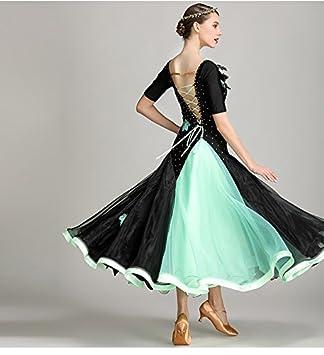 社交ダンス・パーティドレス ダンス衣装 ロングワンピース ブラック+グリーン