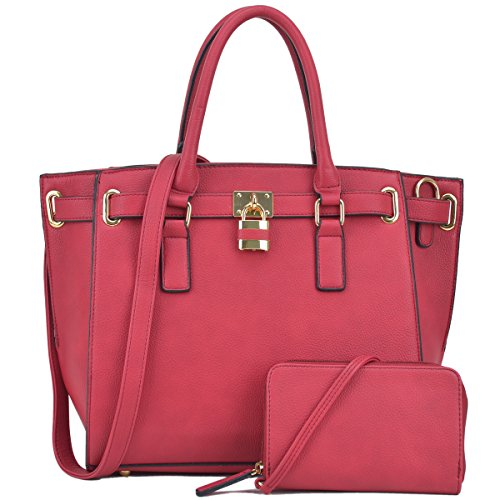 Belted Padlock Women Handbags Large Tote Bags Structured Work Bags Shoulder Purses for Women with Strap (Red) Large Faux Leather Handbag Purse