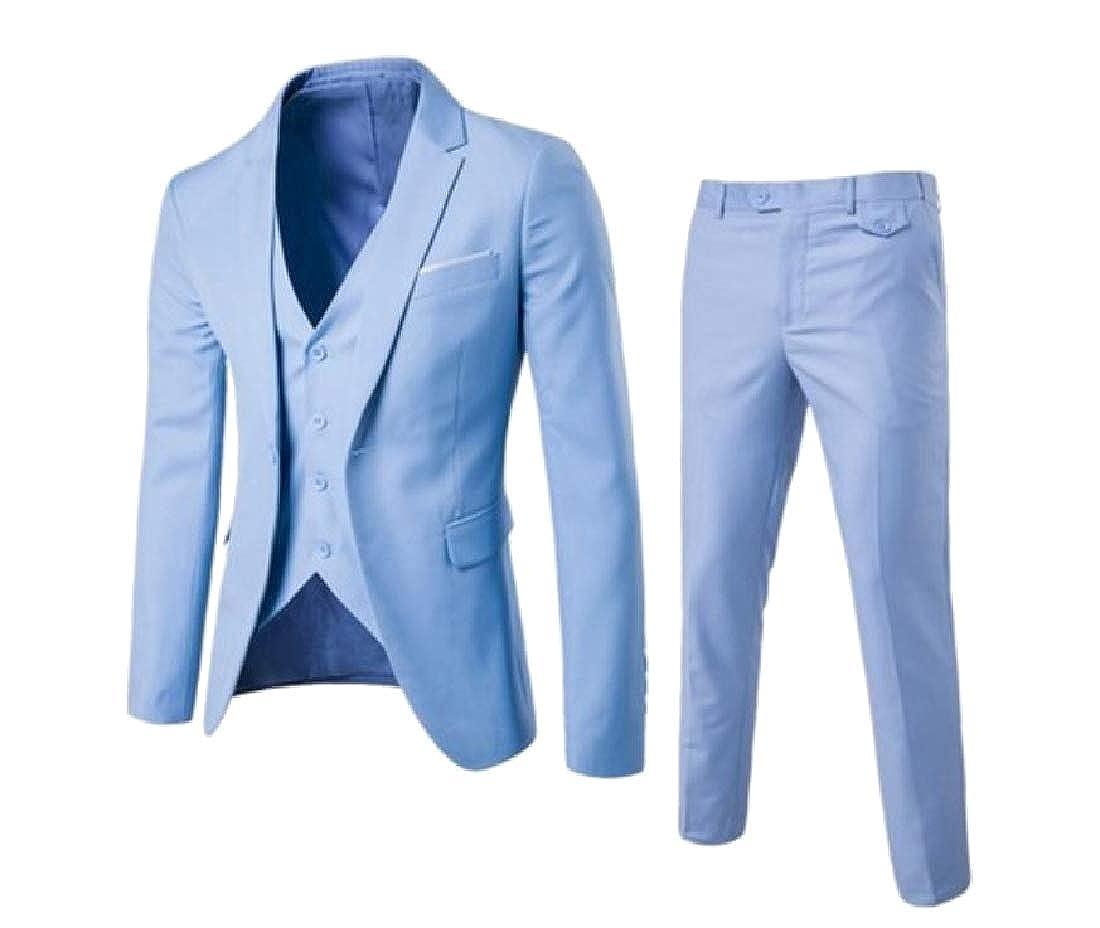 Freely Men's Plus Size Business Set 3-Piece Outerwear Banquet Suits Jacket