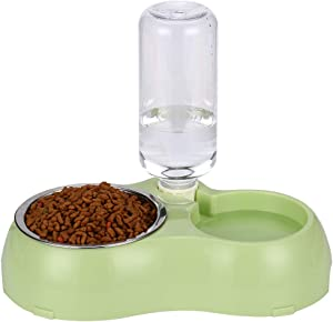 THEMART Double Dog Cat Bowls Premium Stainless Steel Pet Bowls No-Spill Resin Station, Pet Food Water Feeder with Automatic Water Bottle