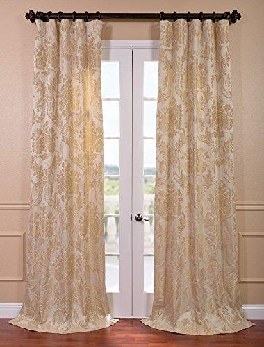 HPD HALF PRICE DRAPES Half Price Drapes JQCH-20122010-108 Magdelena Faux Silk Jacquard Curtain, 50 x 108, Champagne
